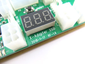 LED voltage display close up on the X6B breakout board