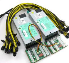 Power supply kit includes two server power supplies, two X11 breakout board adapters, one interconnect sync cable, and several PCIe power cables for GPU mining
